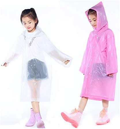 2 Packs Kids Rain Ponchos, Portable Reusable Emergency Raincoat for 6-12 Years Old Boys Girls, Children Rain Wear for Outdoor Activities - White&Pink