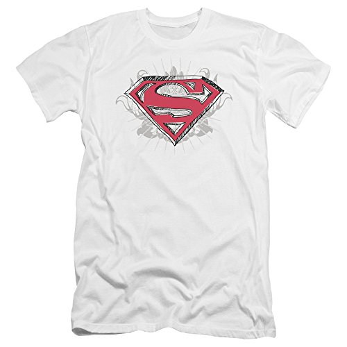 Superman Hastily Drawn Shield Unisex Adult Canvas Brand T Shirt for Men and Women, Large White ()