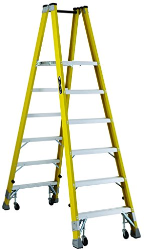 Twin Ladder Platform Step (Louisville FMP2006-4C Twin Front Platform Ladder with 6-Feet Standing Height and Casters, 24 X 14.4-Inch)