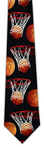 Basketballs and Hoops Sports Novelty Necktie