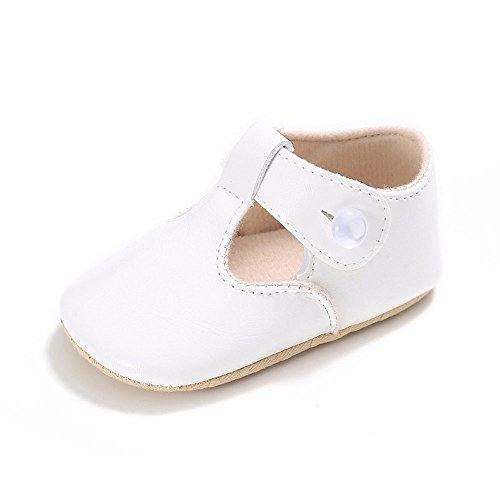 Shoes White Girls Leather (Enteer Baby Girls' Retro Leather Button Mary Jane Shoes White US 4)