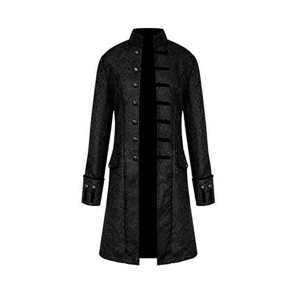 FEITONG Men's Winter Warm Steampunk Vintage Tailcoat Jacket Overcoat Outwear Buttons Coat 3
