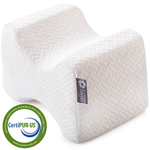 Knee Pillow for Side Sleepers - 100% Memory Foam Wedge Contour - Leg Pillows for Sleeping - Spacer Cushion for Spine Alignment, Back Pain, Pregnancy Support - Sciatica, Hip, Joint, Surgery Pain Relief (Pillow Knee Spacer)