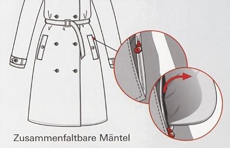 Knirps Regenmantel Wind modischer Trenchcoat f/ür Damen Glanz schwarz