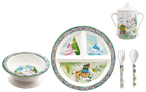 (Baby Cie Melamine Plate, Sippy Cup, Bowl, Fork & Spoon, 5 Piece Set - Enjoy The Journey)