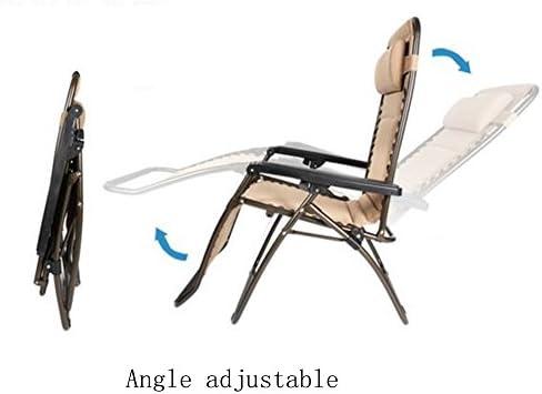 HAIZHEN ZHAIZHEN Chaise Lounge Gravity Zero Gravity Lounge Chair avec oreiller réglable pliable inclinable Outdoor Patio chaise marron pour cour extérieure