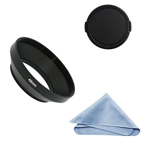 SIOTI Camera Wide Angle Metal Lens Hood + Cleaning Cloth + Lens Cap for Nikon Canon Sony Fuji Pentax Sumsung Leica Standard Thread Lens (49mm)