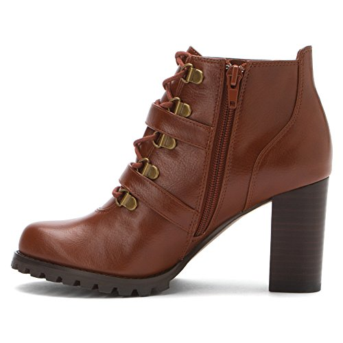 Ann Marino Womens Gstaad Almond Toe Ankle Fashion Boots Whiskey azMEAA