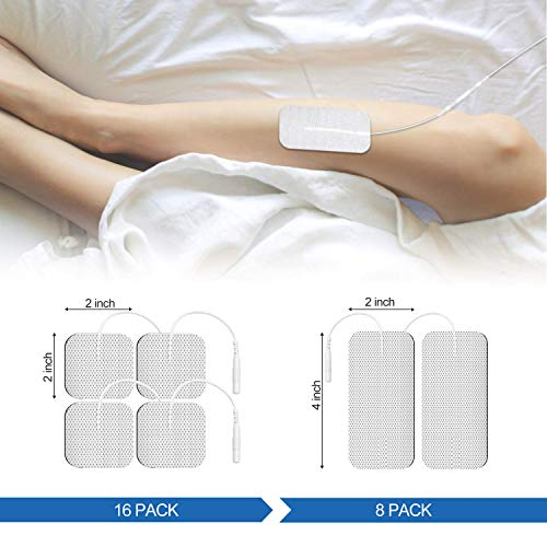 DOMAS Thickened TENS Unit Pads 2 x 2 16pcs and 2 x 4 8pcs, Wired Electrode Reusable Replacement Pads Compatible with Most TENS Machines