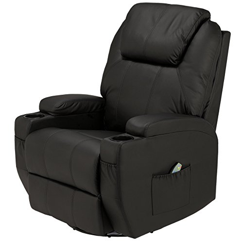 (Homegear Recliner Chair with 8 Point Electric Massage and Heat (Black))