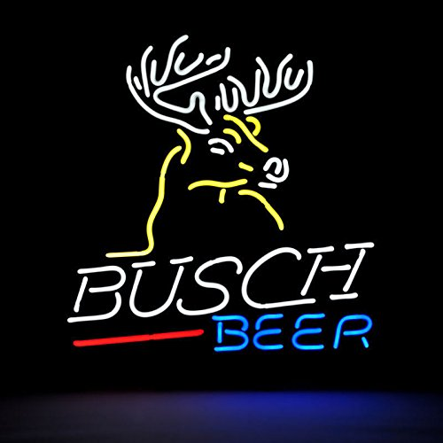 Urby™ Busch Beer Deer Real Glass Neon Light Sign Home Beer Bar Pub Recreation Room Game Room Windows Garage Wall Sign 18''x14'' A11-02 by Urby