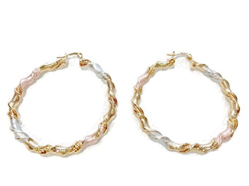 Tri Color Rope - Yellow Rose and White Gold-Tone Ladies Circle Hollow Design and Diamond-Cut Design Large Hoop Earrings Tri-Color 55mm rope twist style