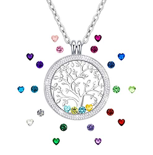 Family Tree of Life Jewelry Created Birthstone Floating Charm Memory Lockets Pendant Necklace for Mom Grandma Gifts for Mom Birthday Silver Tone