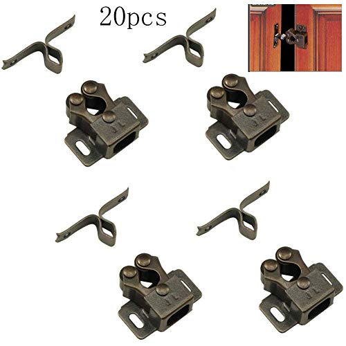 Cupboards Door Double (Eforlike 20 Pack Antique Bronzed Double Ball Roller Cupboard Cabinet Door Tension Catch Latch)