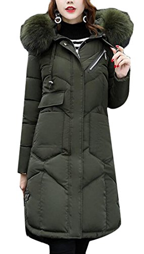 Long Collar Green Gocgt Army Women Coats Down Thickened Fur Warm Hooded EWSqgf