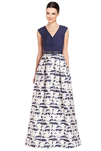 Teri Jon Knot Front V-Neck Printed Ball Evening Gown Dress