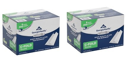 Georgia-Pacific Professional Series Premium 1-Ply C-Fold Paper Towels by GP PRO, White, 2112014, 200 Towels Per Pack, 6 Packs Per Case (2-6 Packs Per Case) by Georgia-Pacific