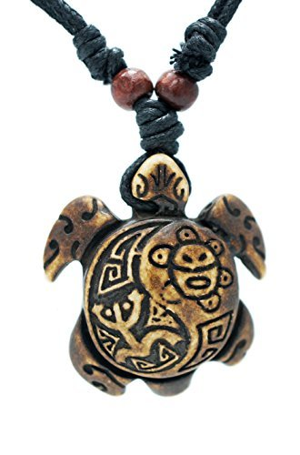 exoticdream Turtle Necklace Yin Yang Coqui Taino Sun with Cotton Cord (Brown) ()