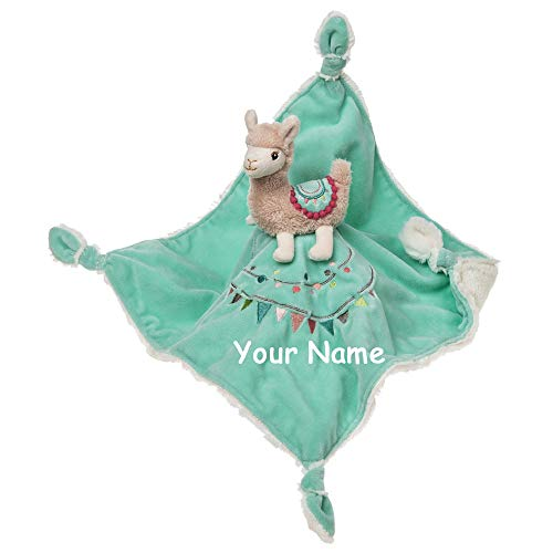 Personalized Lily Llama Pink and Teal Character with Embroidered Flags Stuffed Animal Snuggler Blanket - 13 Inches