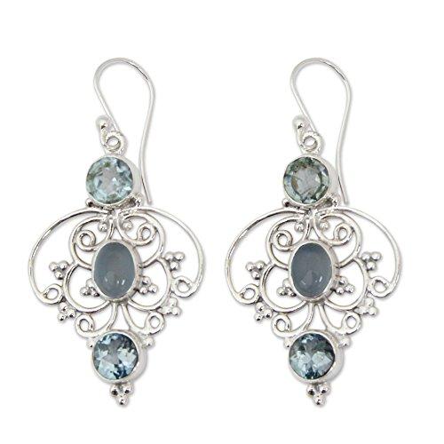 NOVICA Multi-Gem Blue Topaz .925 Sterling Silver Dangle Earrings 'Blue Arabesque' (Topaz Blue Chalcedony Earrings)