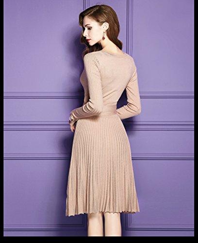 Cotylédons Women`sa Ligne Robe Sexy V Long Cou Beige Robe De Soirée Manches