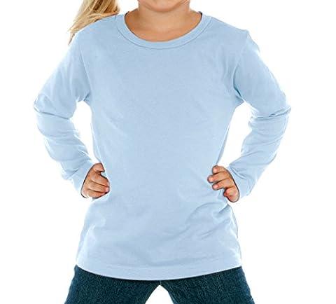 Kavio! Baby Girl's Crew Neck Long Sleeve, Blue, 5 - Blue Color Cotton
