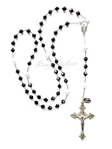 Rana Jabero Jet Black Swarovski Crystal and Glass Pearl Catholic Prayer Rosary - Great Keepsake Gift