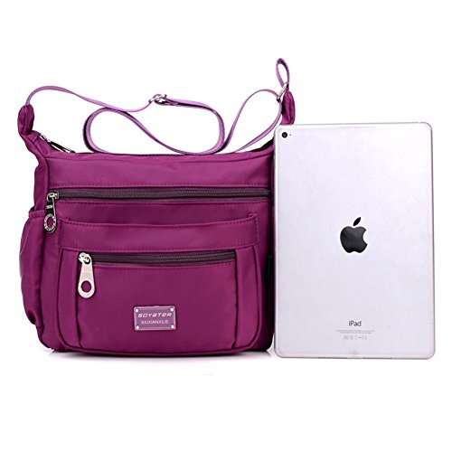 Purple Nylon with for Soyater Bags Pockets Women Crossbody 1PaqvvB
