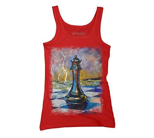 Design By Humans Queen Of Chess Juniors' X-Large Red Graphic Tank - Checkmate Painting