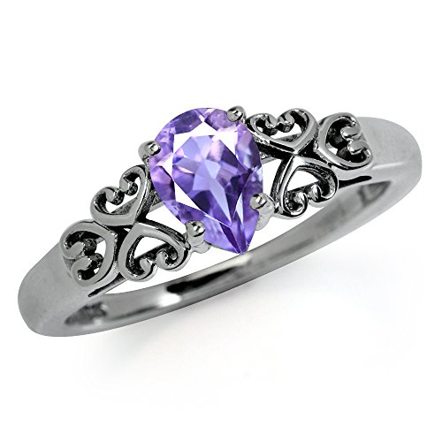 Stone Filigree Ring (Natural February Birthstone Amethyst 925 Sterling Silver Heart Filigree Solitaire Ring Size 7)