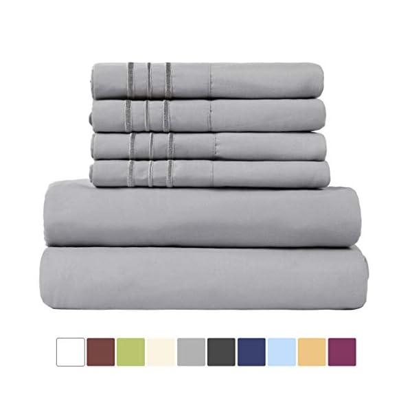 EASELAND Super Soft Bed Sheet Set-6 Pieces Microfiber Deep Pocket Sheets