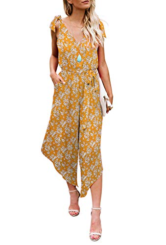 (BELONGSCI Women Outfit Sleeveless Shoulder Bandage Waistband Sexy V-Neck Wide Leg Long Jumpsuit with Belt Yellow Floral)