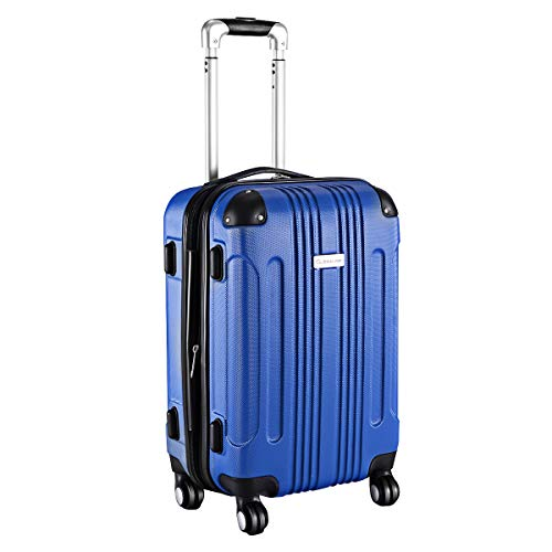 Goplus Carry On Luggage 20-inch ABS Expandable Hardside Travel Bag Trolley Suitcase GLOBALWAY (Blue)