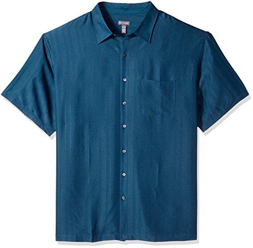 (Van Heusen Men's Tall Poly Rayon Short Sleeve Button Down Shirt, Aqau Inland, 4X-Large Big)