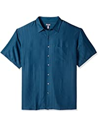 Men's Big and Tall Poly Rayon Short Sleeve Button Down Shirt