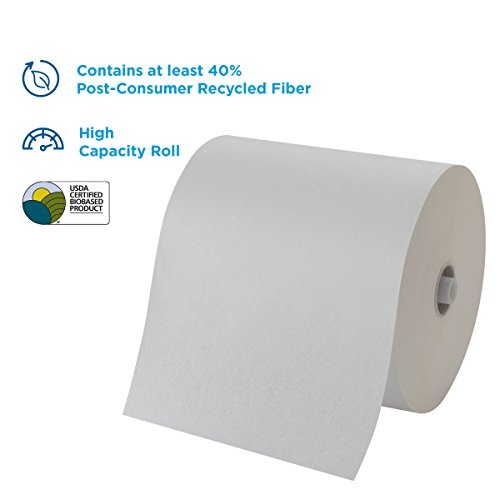 "Pacific Blue Ultra 8"" High-Capacity Recycled Paper Towel Roll by Georgia-Pacific, White, 26490, 7.87"" Width x 1150 Length (Case of 6 rolls, 1150' per roll, 6900 feet per case)"