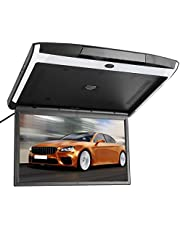Yctze Mount DVD Player Monitor 17.3inch LED Flip Down Monitor Thin 1080P Touch Button Video Roof Mount HDMI USB SD FM MP5 Speaker Player for Flip Down Monitor Car Overhead Roof 1080P Player Mount DVD Screen