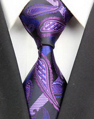 jacob alex #41283 Purple Black Paisley Classic 100%Silk Jacquard Woven Man's Tie Necktie