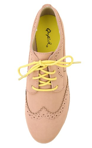 Qupid Sheldon-01 Lace Up Geperforeerde Oxford Flats Nude