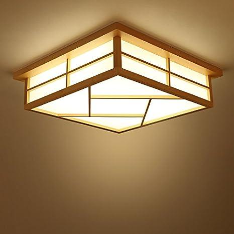 Lilamins Giapponese Lampada led solido legno e luce cinese in legno ...