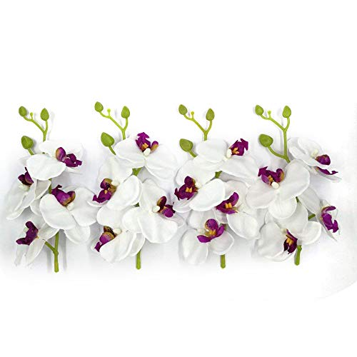 Artificial Flowers Orchid 4 Bunch (Bunch =4PCS) Handmade Flower Butterfly Bouquet Wedding Home Decoration DIY Wreath Cymbidium Orchid Artificial Plant (white) (Cymbidium Orchid Silk Flower)