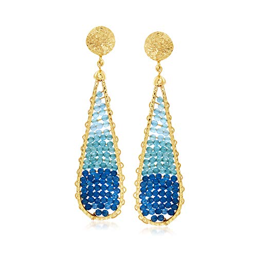 Ross-Simons Blue Jade, Blue Chalcedony and 10.00 ct. t.w. Blue Apatite Teardrop Earrings in 18kt Gold Over Sterling