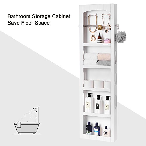 SONGMICS Bathroom Storage Cabinet, Door/Wall Mounted Save Floor Space, Adjustable Shelves White UBBC74WT by SONGMICS (Image #4)