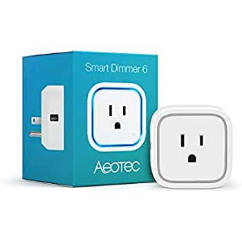 Aeotec Smart Dimmer 6, Z-Wave Plus lamp dimmer, remote control, with USB charging port, power metering, small size