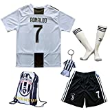 GamesDur 2018/2019 Cristiano Ronaldo #7 Home Football Soccer Kids Jersey & Short & Sock & Soccer Bag Youth Sizes (New (Juve), 13-14 Years)