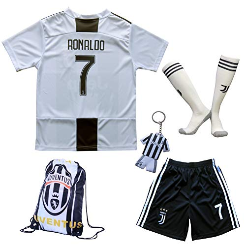GamesDur 2018/2019 Cristiano Ronaldo #7 Home Football Soccer Kids Jersey & Short & Sock & Soccer Bag Youth Sizes (New (Juve), 7-8 Years)