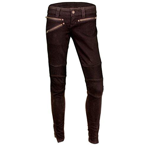 Harley Davidson Ladies Black Denim (Harley-Davidson Women's Black Label Slim Fit Low Rise Moto Jeans 96064-17VW (8))