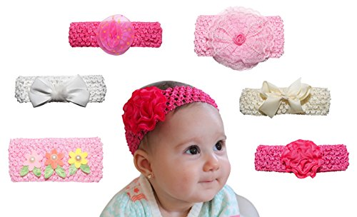 6 Pack Baby Headband - New Baby Girl Shower Gifts - Photo Props For Babies - Perfect for Newborn Photography, 1 Year Olds and Twins, First Birthday
