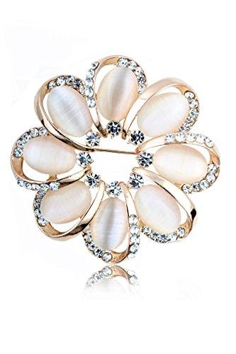 Flower Brooch Earrings - NickAngelo's Flower Brooch For Women Fashion Jewelry Elegant Design Created Cat's Eye Stones And Secured Closure
