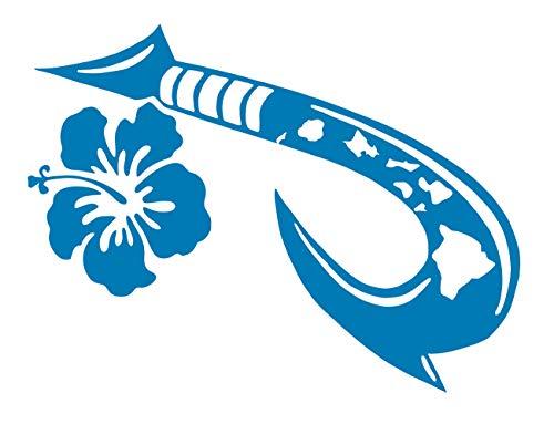 UR Impressions ABlu Hawaiian Islands Maui Hook with Hibiscus Flower Decal Vinyl Sticker Graphics Cars Trucks SUV Vans Walls Windows Laptop Tablet|Azure Blue|6 X 4.4 Inch|JJURI129
